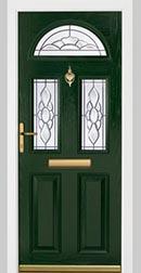 Dark green wood effect door